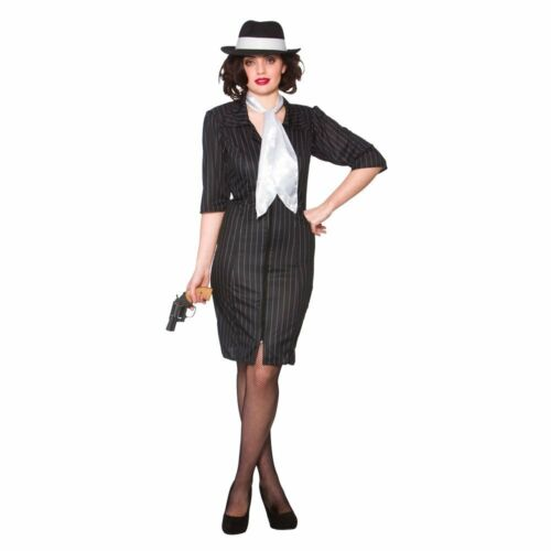 Gangster Gal Adult Ladies Fancy Dress Costume Chicago Roaring 1920/'s Al Capone