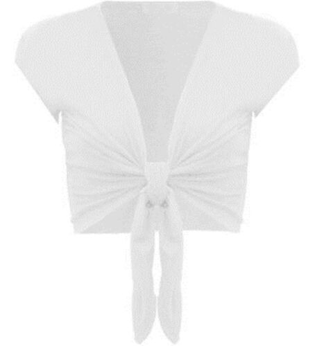 LADIES TIE UP WHITE SHORT SLEEVE BOLERO SHRUG TOP 8-14