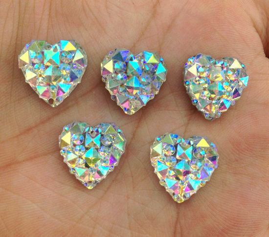 DIY 40PCS white AB Resin Heart flatback Scrapbooking for phone/wedding/craft