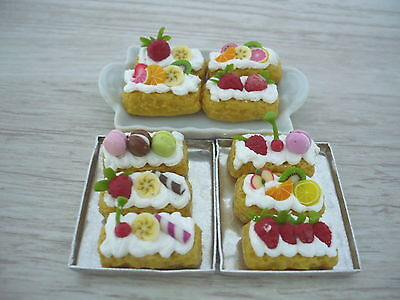 Set of 10  Puff Pastry with Fruit Dollhouse Miniatures Food Deco Yummy Pastry