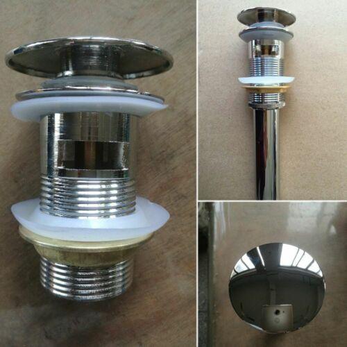 Details about  /Basin Sink Tap Drain Bath Plug Click Push Overflow Hole Zinc Alloy Waste Stopper