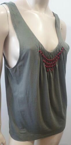 DRIES VAN NOTEN Olive Green Cotton Red Bead Sleeveless Vest Tank T-Shirt Tee S