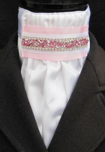 Ready Tied Faux Silk White /& Black Riding Stock Show Dressage