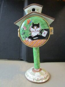 Enameled-Postage-Stamp-Roll-Holder-Rare-by-Kevin-Chen-Relaxed-Cat-Birdhouse