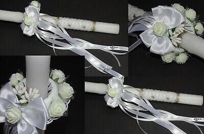 Besorgt (211) Kerzenrock Weiß Rose Kreuz Tropfschutz Kerzentuch Kerzenkleid Kommunion