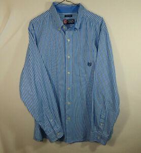 Ralph-Lauren-Chaps-Mens-Long-Sleeve-Oxford-Dress-Shirt-Blue-Striped-Size-LARGE-L