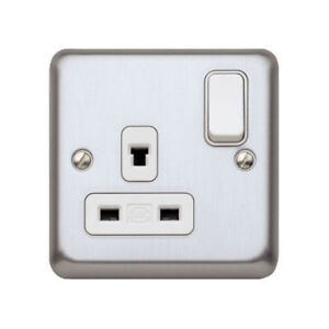 MK K1258MCO Switch Socket Outlet Non-Standard 13 Amp Matt Chrome ...