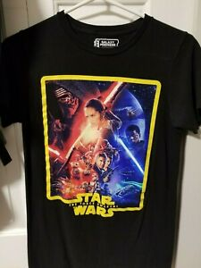 STAR WARS MENS GRAPHIC TEE 100/%COTTON FORCE AWAKENS ATTACK SIZE L BLACK