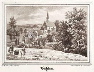 Bühlau (großharthau) - Vue Partielle-églises-galerie-lithographie 1841-e - Lithografie 1841 Fr-fr Afficher Le Titre D'origine Les Consommateurs D'Abord