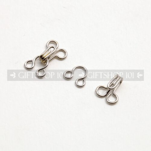 10 Count Silver Wired 13mm Latch Hooks Clothing Adjustment Secure Lock Clip On
