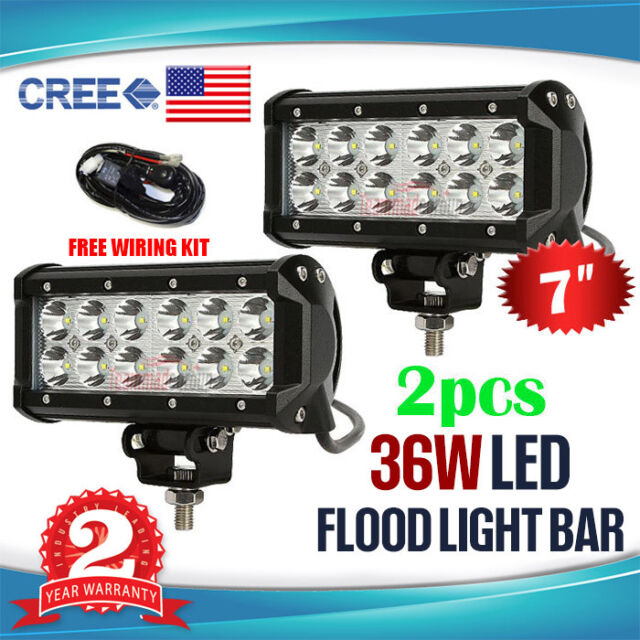 2x 7INCH 36W CREE LED WORK LIGHT BAR FLOOD OFFROAD REVERSING SPOT
