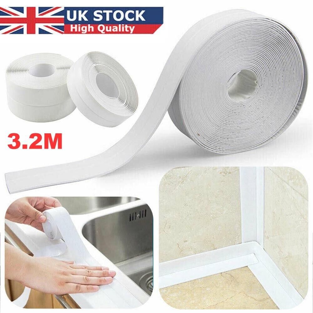 3.2Mx 22mm Sealing Strip Bath Shower Sink Basin Edge White Sealant Tape UK STOCK