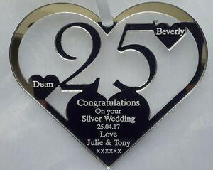 25 Wedding Anniversary Gift.Details About 25th Silver Wedding Anniversary Gift Personalised Keepsake From You