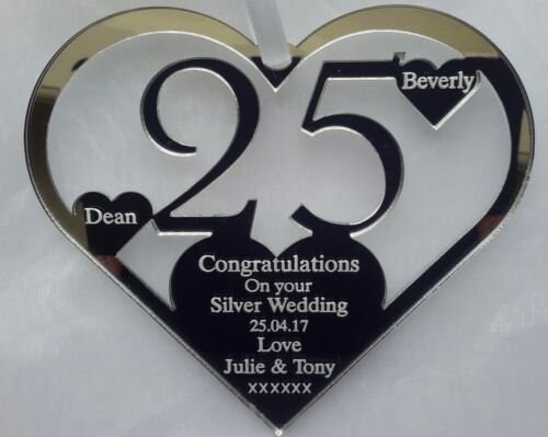 SILVER WEDDING ANNIVERSARY HEART GIFT PERSONALISED ETCHED WITH NAMES