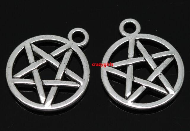 Wholesale 50pcs Tibet Silver Gothic wicca pentagram Charm amulet pendant 20x17mm