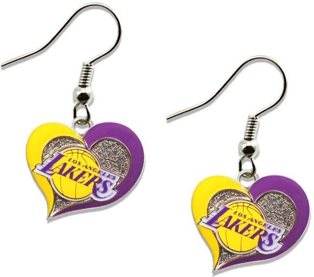 La Los Angeles Lakers Heart Earring Dangle Set Logo Charm Jewelry Pendant Nba