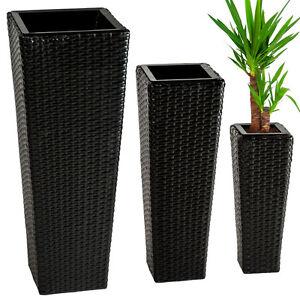 lot de 3 pots de fleurs en rotin r sine tress e bac meuble jardin terrasse noir ebay. Black Bedroom Furniture Sets. Home Design Ideas
