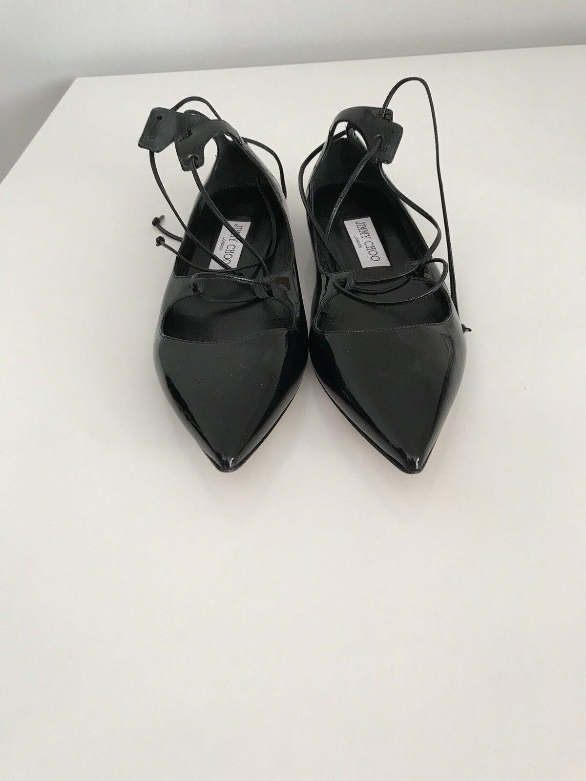 595 Jimmy Choo Cordones Londres Vita Con Cordones Choo Tacón Bajo Charol Negro Zapatos Talla 38 1 2 f4f072