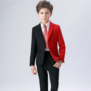 c44b75d3fc6d Boys Suits Dinner Black+Red Suits Formal Prom Wedding Tuxedo Page ...