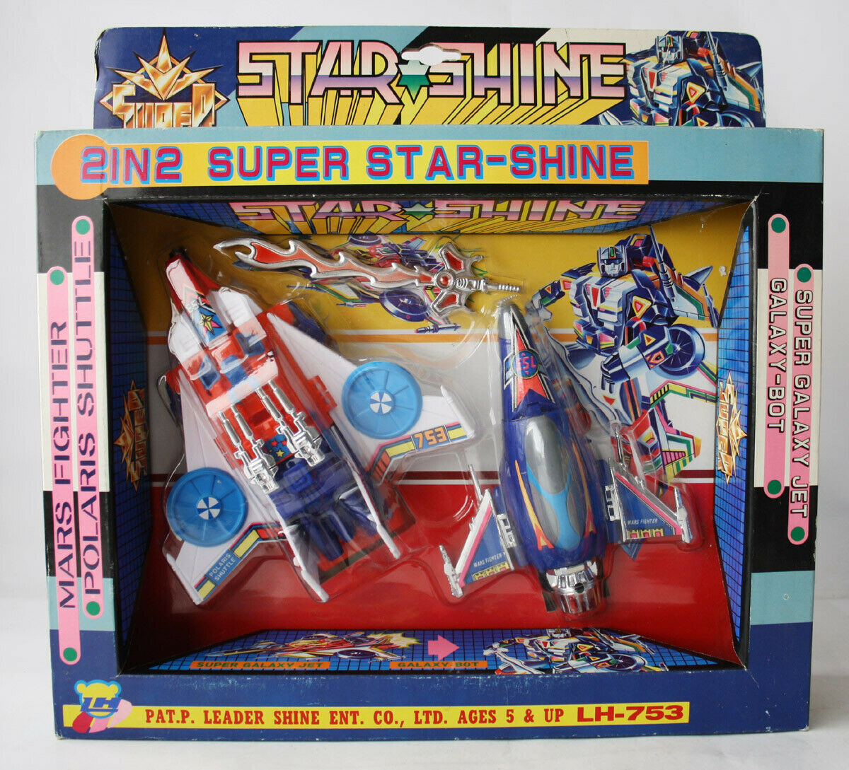 VINTAGE 80'S TRANSFORMABLE STAR SHINE MARS POLARIS GALAXY BOT LH TAIWAN NEW