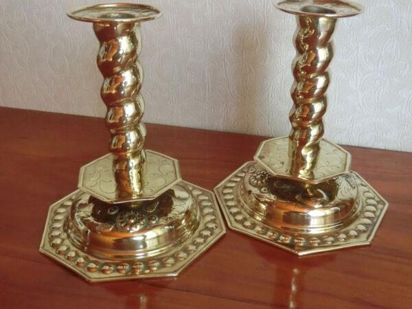 2 Seltene Ausgefallene Messing Kerzenleuchter Um 1850 Produkte HeißEr Verkauf