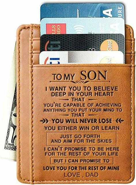You Are My Son Dad /& Mom s Gift Genuine Leather Men Front Pocket Slim Card Wallet with RFID