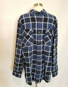 Duluth-Trading-Co-Mens-Plaid-Button-Down-Shirt-Size-Large-Tall-Trim-Fit-Blue