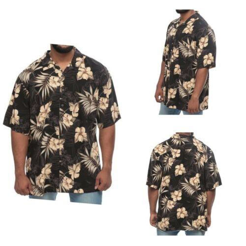Big /& Tall Island Outfitters Tropical Flowers and Palm Short Sleeve Black Shirt
