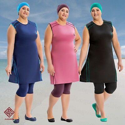 Alhamra AL8132 Modeste burqini Swimwear Maillot De Bain Musulman Islamique pièce 3 UK 20-26