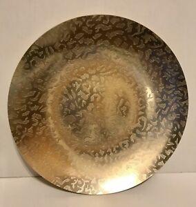 VINTAGE-KENSINGTON-MOIRE-10-034-GOLD-TONE-Round-plate