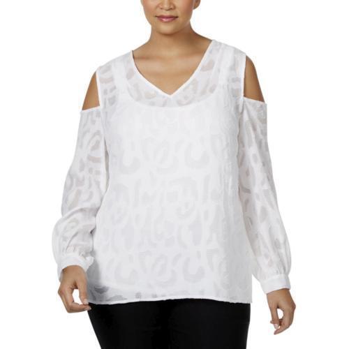 36daa438ec6d4 Alfani Plus Size Top 24W Jacquard Lace Knit Cold Shoulder Blouse White NWT