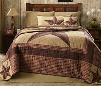 Landon 3pc Cal King Quilt Set : Country Lone Star Western Rustic Red Cabin