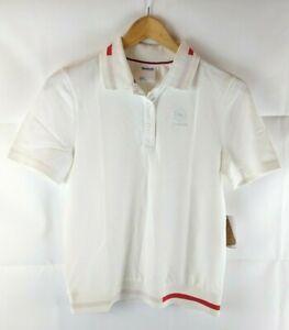 Reebok-Damen-Kurzarm-Pique-Polo-Mod-Shirt-Weiss-Groesse-Small-8-10-Fred