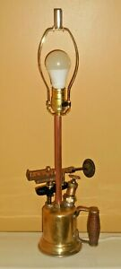 Vtg-OTTO-BERNZ-Blow-Torch-Electric-Table-Lamp-Light-Steam-Punk-Repurposed-WORKS