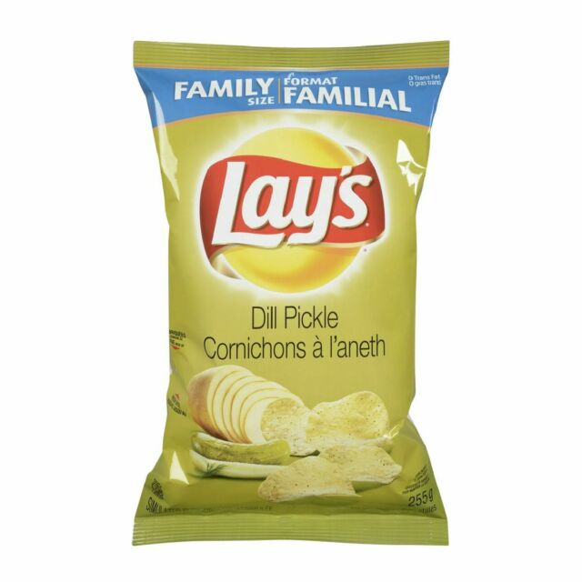 2 Bags - Canadian Lays Dill Pickle potato Chips Family Size (255g)