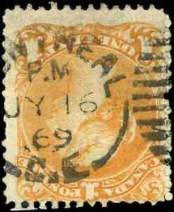 Canada-23-used-F-1869-Queen-Victoria-1c-yellow-orange-Large-Queen-SON-CDS