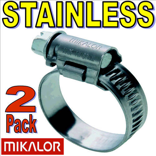 2 x 12mm 22mm MIKALOR W2 STAINLESS HOSE CLIP SILICONE