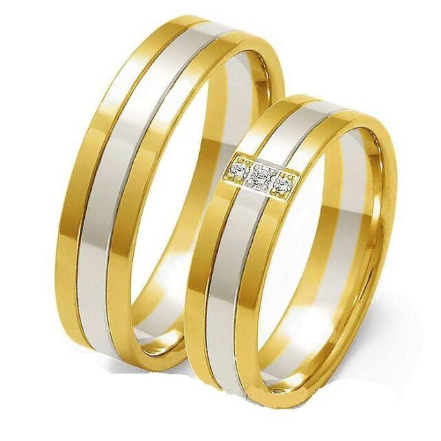 Eheringe Trauringe 333 er Gold Bicolor Massiv Gelb/Weissgold