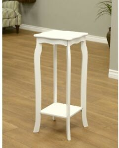 Indoor Flower Plant Phone Stand End Table Wood Top Composite White