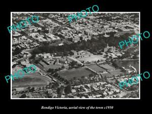 OLD-LARGE-HISTORIC-PHOTO-BENDIGO-VICTORIA-AERIAL-VIEW-OF-THE-TOWN-c1940