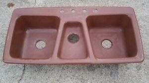 Image is loading Vintage-Kohler-Trieste-Top-Mount-Kitchen-Sink-Brown- & Vintage Kohler Trieste Top-Mount Kitchen Sink Brown 3-Bowl 4-Hole ...