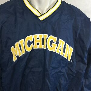 Vtg-Starter-Michigan-Wolverines-Pullover-Sz-L-Blue-Yellow-NCAA-Football-Lined