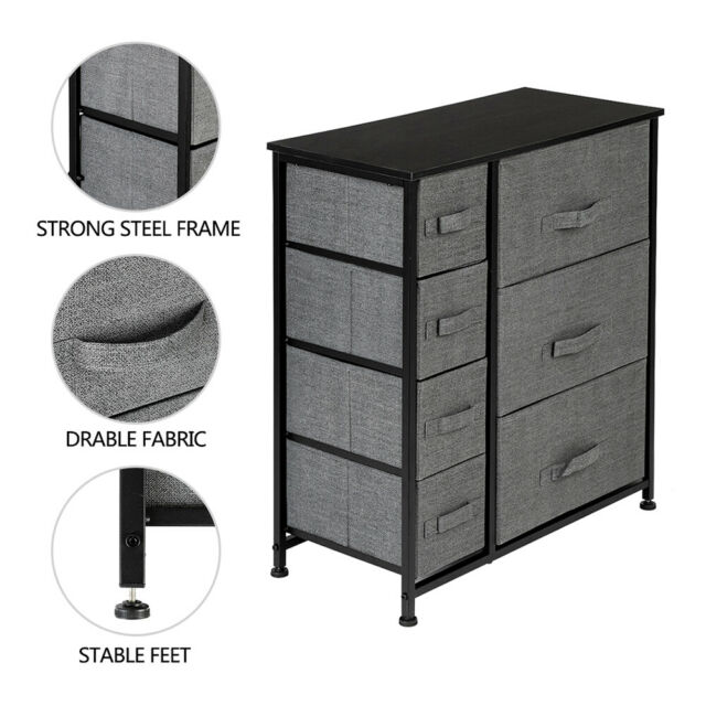 7 Drawer Dresser Storage Closet 7 Removable Fabric Drawers Wide Bamboo Shelves