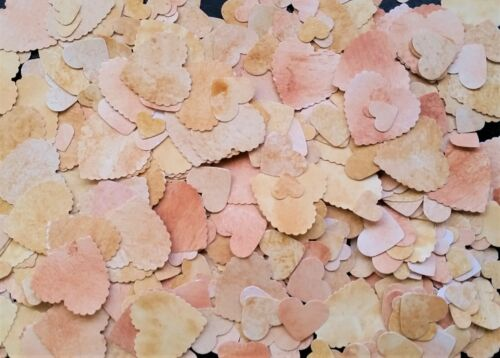 500 HANDMADE VINTAGE HEARTS CARD PUNCHED TABLE CONFETTI SHABBY CHIC PARTY