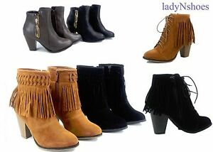 NEW-Women-039-s-Pointed-Toe-Fringe-Chunky-High-Heel-Ankle-Booties-Shoes-Size-5-10
