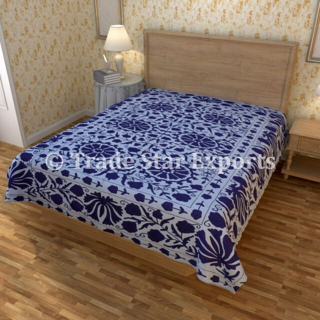 Indian Handmade Suzani Bedspread Embroidered Bedcover Vintage Cotton Bedding