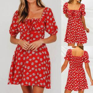 New-Boho-Square-Neck-Puff-Sleeve-Women-Zipper-Floral-Lace-up-A-Line-Beach-Dress