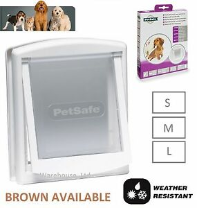 PETSAFE-STAYWELL-DOG-DOOR-amp-CAT-FLAP-SMALL-715-MEDIUM-740-LARGE-760-White-Brown