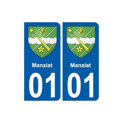 01 Manziat Ville Autocollant Plaque Sticker - Angles : Arrondis