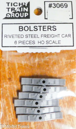 Plast 6 pcs Tichy Train Group HO #3069 Bolsters Riveted Steel for Freight Car